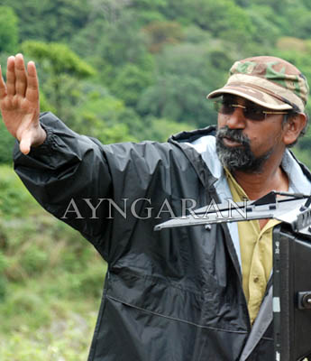 S.P Jhanathan on the sets of Peraanmai