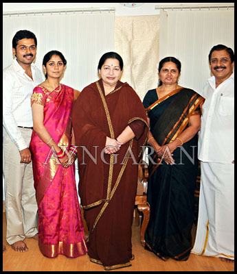 CM wishes the newly weds-Karthi & Ranjani