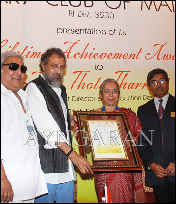 Lifetime Achievement award conferred to Thota Tharrani