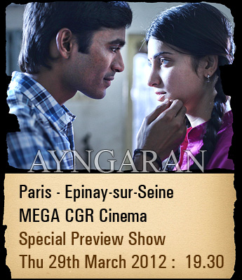 "Dhanush starring""3"" Special preview show in Paris"