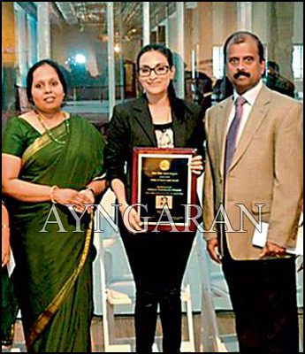 Aishwarya Dhanush felicitated by New York Tamil Sangham